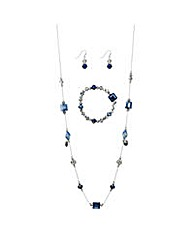 Mood Blue beaded matching jewellery set
