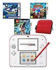 2DS Console Red &White Bundle with Case