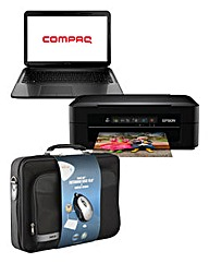 Compaq 15.5in Laptop- Case Mouse Printer