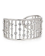 Mood Silver crystal bar open cuff