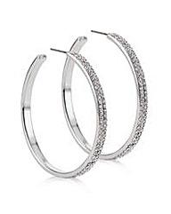 Mood Silver crystal pave hoop earring