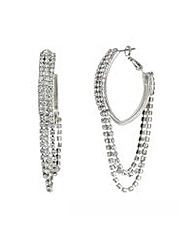 Mood Silver diamante hoop earring