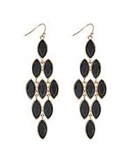 Mood Jet crystal chandelier earring