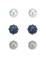 Mood Blue crystal stud earring set