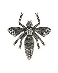 Mood Gold crystal bug brooch