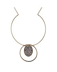 Mood Rose gold druzy stone necklace