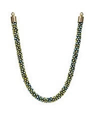 Mood Metallic khaki bead necklace