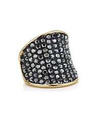 Mood Jet pave crystal curved ring