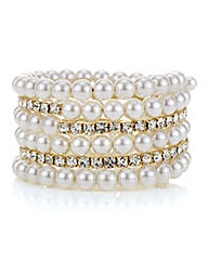 Mood Pearl and diamante coil bracelet