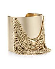 Mood Gold chain tassel cuff bracelet