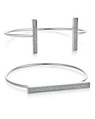 Mood Silver glitter bar bangle set