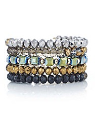 Mood Multi colour beaded coil bracelet
