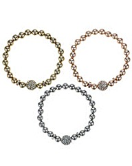 Mood multi tone pave ball bracelet set