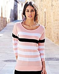 Stripe Zip Shoulder Jumper