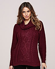 Sequin Cowl Neck Jumper