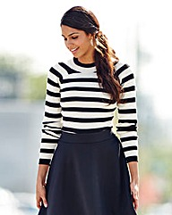 Stripe Rib Turtle Neck Jumper