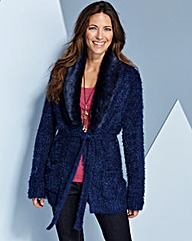 Fur Trim Fluffy Edge To Edge Cardigan