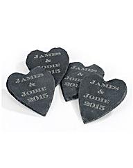 Personalised Slate Heart Coasters Set