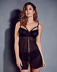 Strappy Lace Plunge Black Babydoll