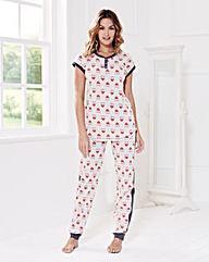 Short Sleeved Owl Print Pyjama Set