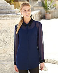 JOANNA HOPE Jewel-Trim Blouse