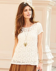 JOANNA HOPE Bow Back Detail Lace Top