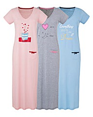 Pretty Secrets Pack of 3 Nightdress 48in
