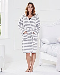 Chunky Fleece Hooded Gown L38in