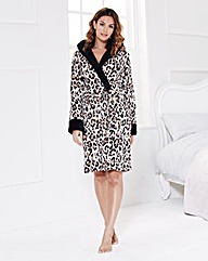 Fluffy Fleece Hooded Wrap Gown 38in