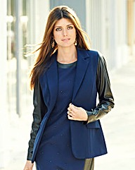 JOANNA HOPE Pu Sleeve Tailored Jacket