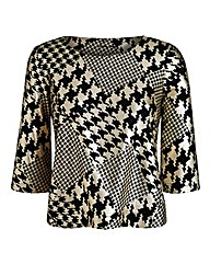 JOANNA HOPE Houndstooth Jersey Top
