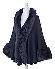 JOANNA HOPE Faux Fur Trim Blanket Wrap