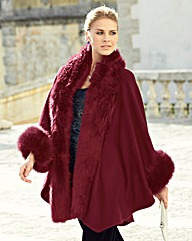 JOANNA HOPE Faux-Fur Trim Blanket Wrap
