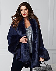 JOANNA HOPE Faux-Fur Trim Cape