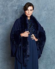 JOANNA HOPE Faux-Fur Trim Blanket Wrap