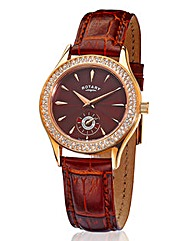 Rotary Ladies Brown Strap Watch