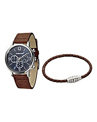 Fred Bennett Gents Watch & Bracelet Set