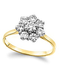 Moissanite 9 Carat Gold Cluster Ring
