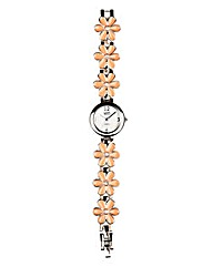 Eton Enamel Flower Link Bracelet Watch