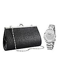 Ladies Watch & Black Evening Bag