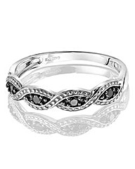 Black and Clear Diamond Crossover Ring