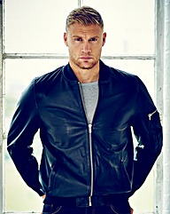 Flintoff by Jacamo Leather Bomber Jacket