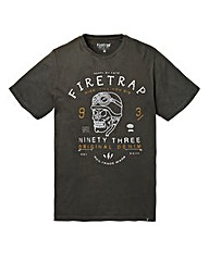 Firetrap Crafted Black T-Shirt Long