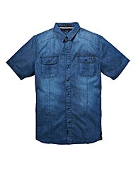 Firetrap Noah Mid Wash Denim Shirt Reg