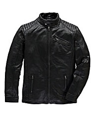 Flintoff by Jacamo Leather Biker Jacket