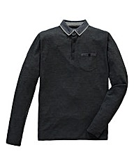 Flintoff by Jacamo Charcoal L/S Polo Reg