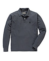 Jacamo Charcoal Long Sleeved Polo Reg