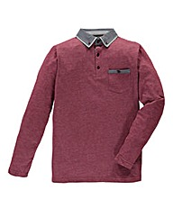Flintoff by Jacamo Wine L/S Polo Reg