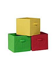 Canvas Boxes 3 Pack - Multicoloured