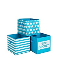 Top Secret Canvas Storage Boxes - 3 Pack